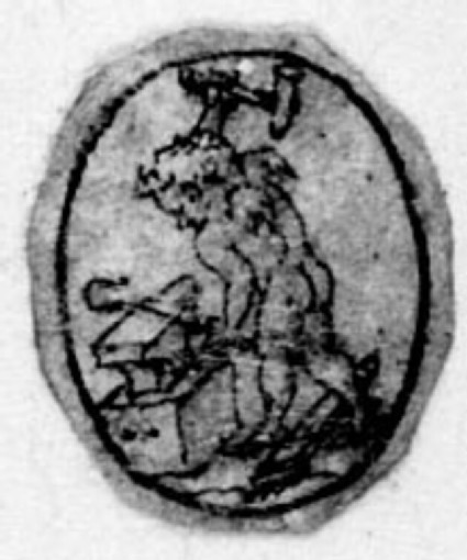 A small oval with a figure: A small oval depicting Cupid working at an anvil
