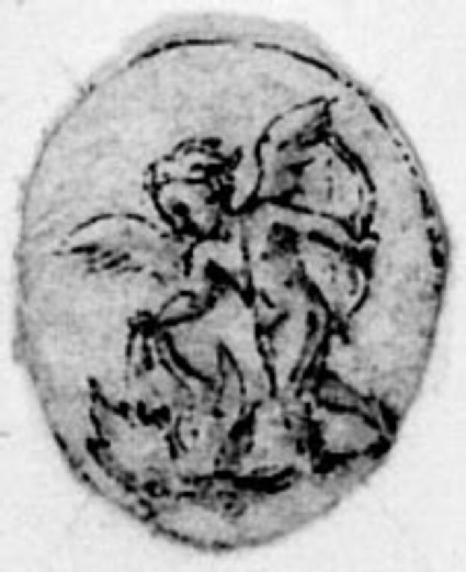 A small oval with a figure: A small oval depicting Cupid holding his bow and putting something on fire