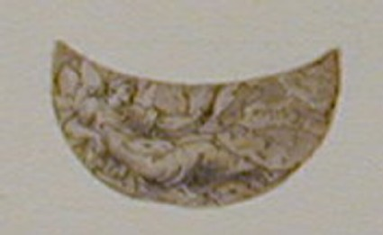 A crescent shape enclosing a reclining bearded man holding a scroll