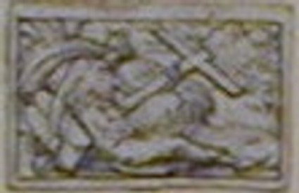 A design for an allegorical figure in a small rectangle: A woman reclining on a bank
