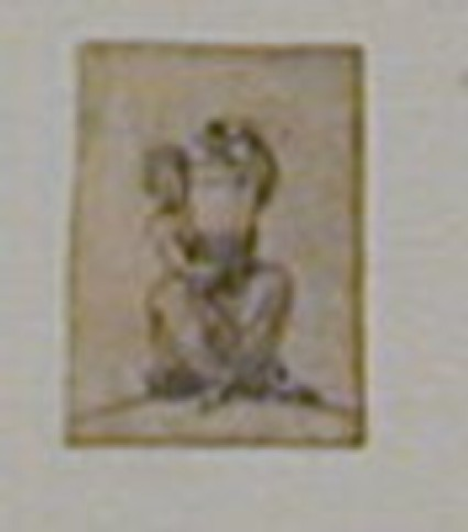 Design for a finial: A woman seated facing forward, holding a tall vase on her lap