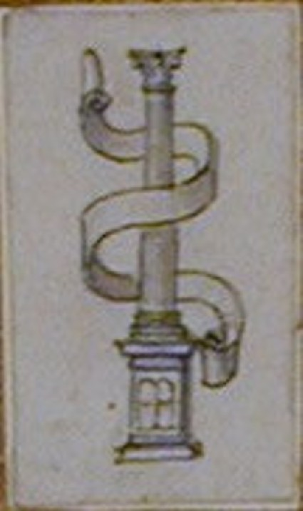 An ornamental design depicting a fluted Corinthian column entwined with a scroll