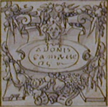 A cartouche: A horizontal cartouche within a frame of strapwork supporting four swags of fruit
