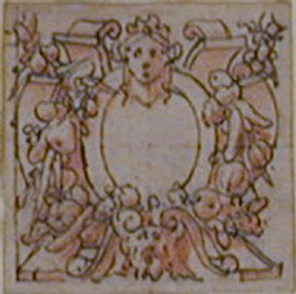 A cartouche: A blank oval upon heavy bands of strapwork entwined with a garland of fruit