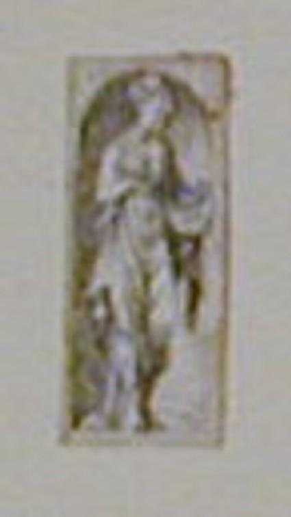 Figure in a niche: A woman standing in a niche