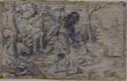 A horizontal rectangle depicting the sacrifice of Isaac