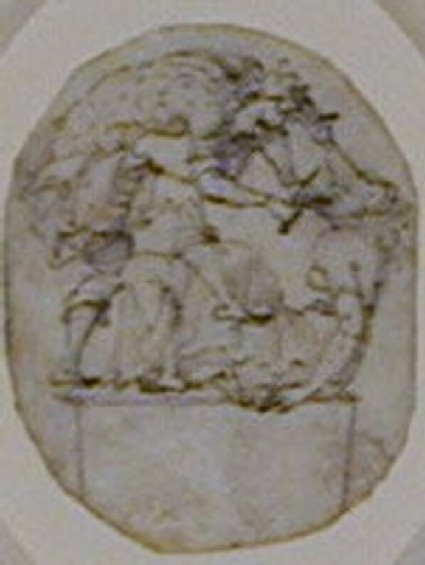 An oval depicting Tereus in armour, standing on a pedestal and about to cut out the tongue of Philomela