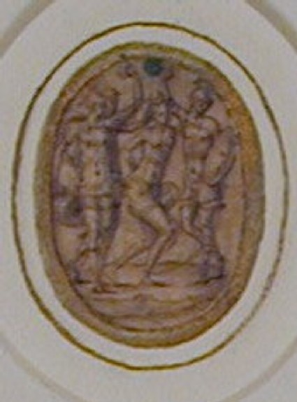An oval depicting a nearly naked woman held captive by two Roman soldiers