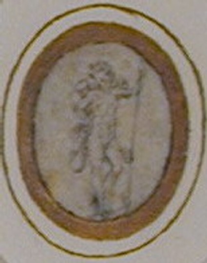An oval depicting a standing winged Cupid holding a spear