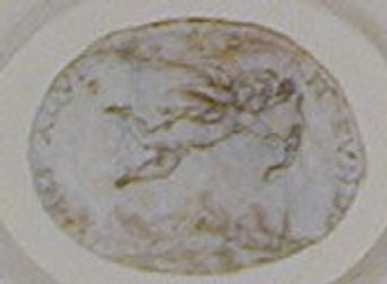 A horizontal oval depicting Cupid flying above a mountainous landscape