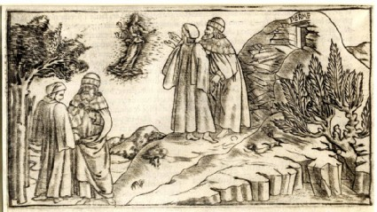 Beatrice appears before Dante and Virgil