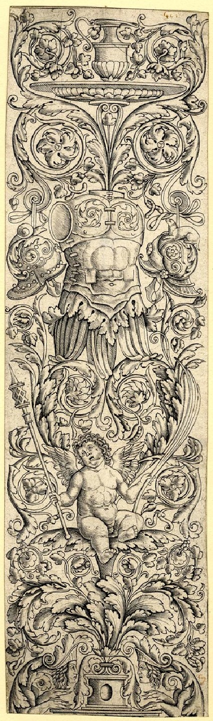 Ornament panel showing a leaf ridden by a child