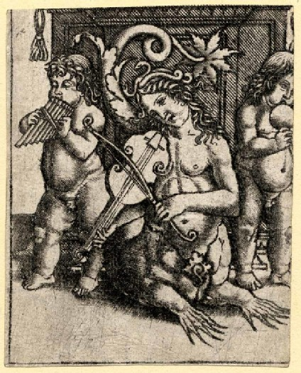 Ornament print, showing a nereid and two children playing musical instruments