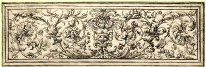 Ornamental panel with a pattern of foliage and a bull's head in the centre