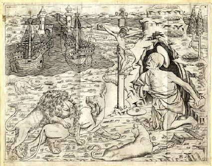 St Jerome in Penitence, with Two Ships in a Harbour