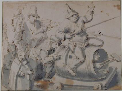 Composition of seven Figures symbolizing Carnival