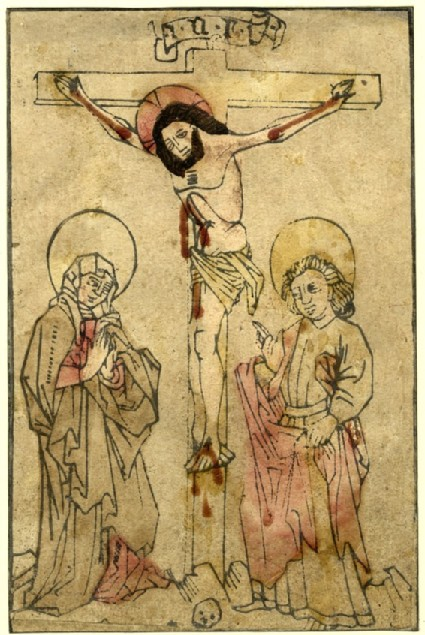 Christ on the cross, between the Virgin and Saint John