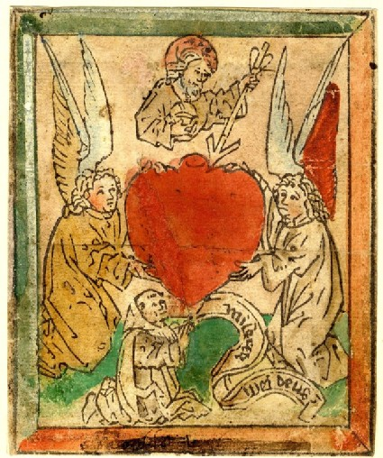 The sacred heart, supported by two angels
