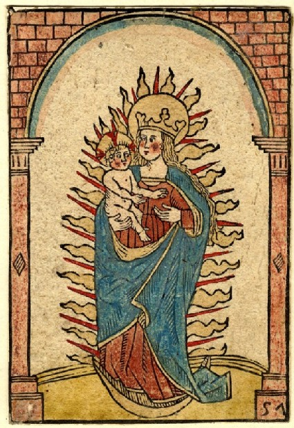 The Virgin Mary as Queen of Heaven, under an arch