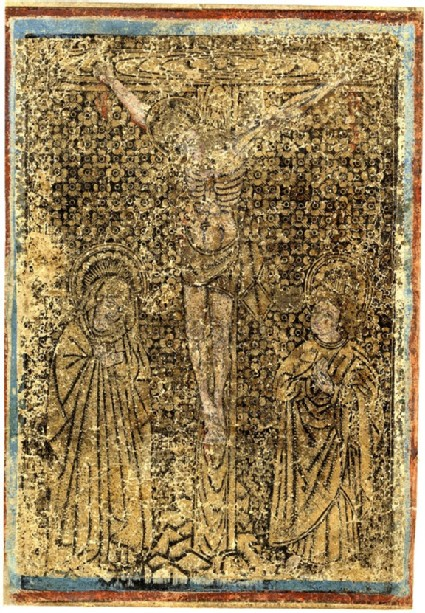 Christ on the cross, flanked by the Virgin and Saint John