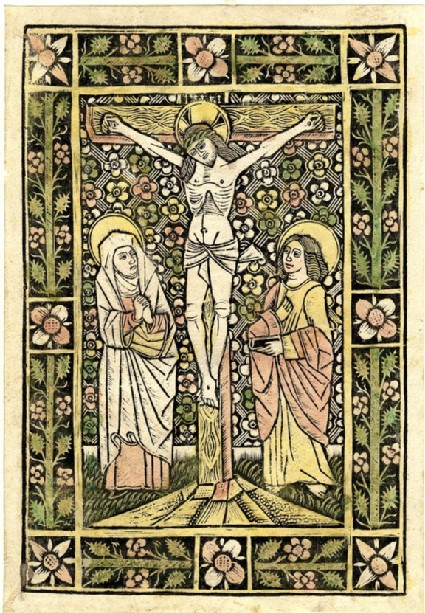 Christ on the cross, with the Virgin and St John in front of a decorated background, the borders with straight flowers