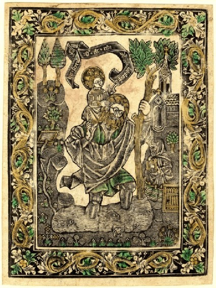 Saint Christopher with floral borders