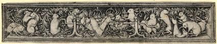 Ornamental engraving, Hares roasting the hunter