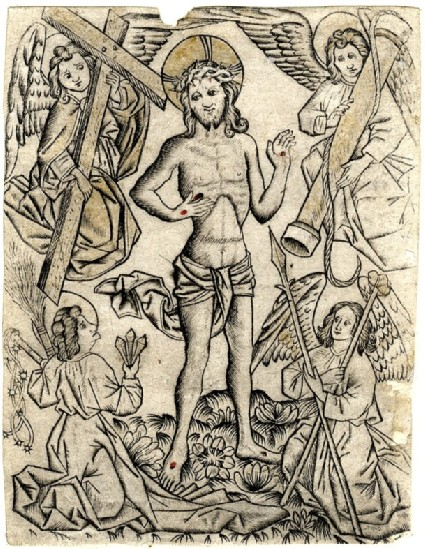 The Man of Sorrows, flanked by four Angels with the instruments of the Passion