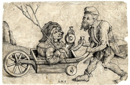 The beggar driving his wife in a wheelbarrow