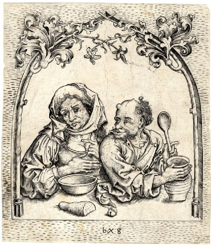 The old woman and the jester in the window