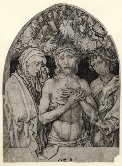 The Man of sorrows between the Virgin and St John