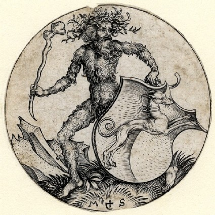 A Shield inclined, with a Greyhound salient collared, supported by a Wildman