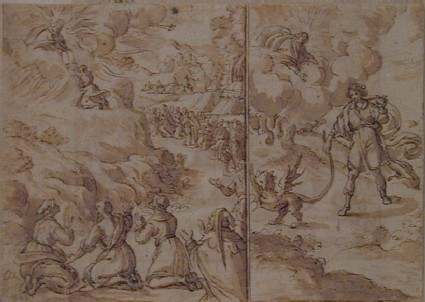 Recto: Moses receiving the Tablets of the Law on Mount Sinai<br />Verso: The gathering of the Manna