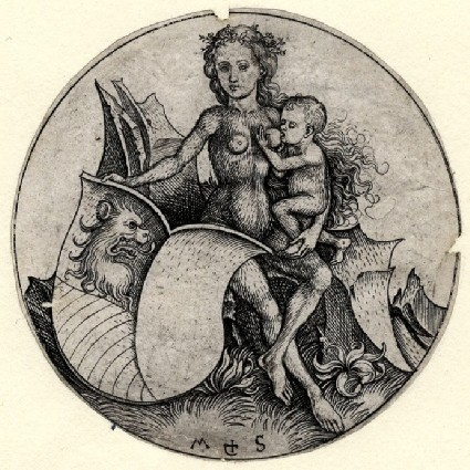 A Shield with a Lion's head erased, supported by a wild woman suckling a child