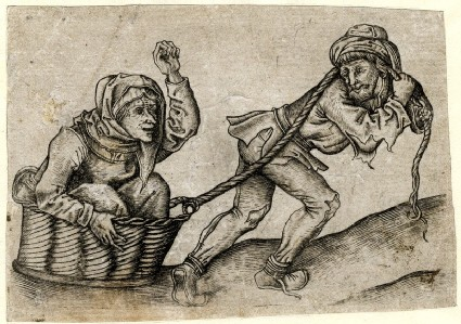The beggar pulling his wife in a basket