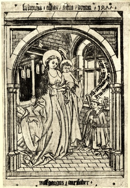 The Virgin with a Child and a founder in room, copy after The Virgin and an angel giving roses