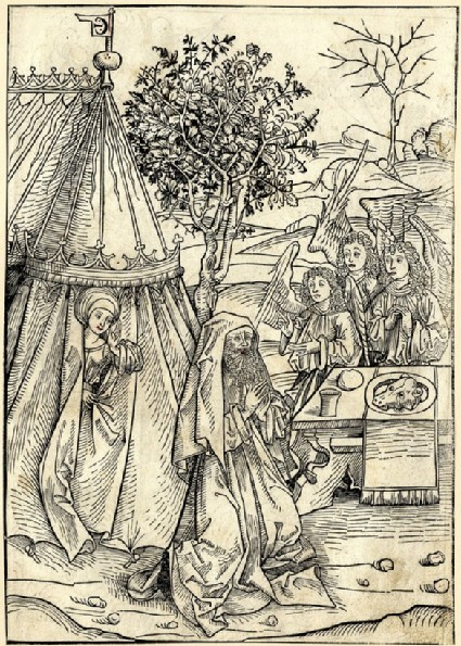Recto: Abraham and the angels<br />Verso: Abraham's sacrifice