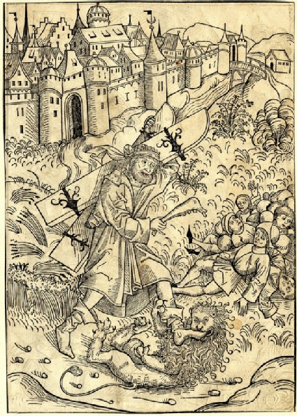 Recto: The feats of Samson<br />Verso: Samson pulling down the house in Gaza
