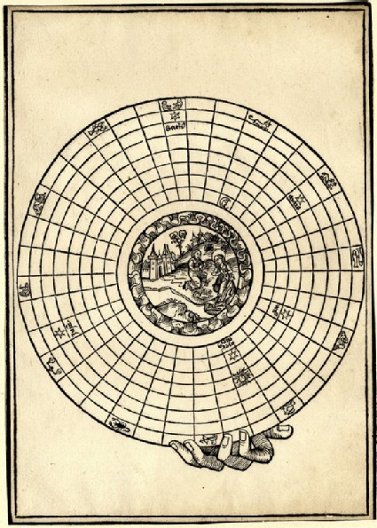 The Nativity in the air within an astrological circle