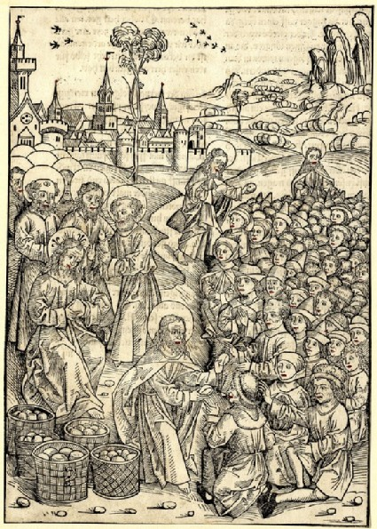 Christ and the feeding of the five-thousand men