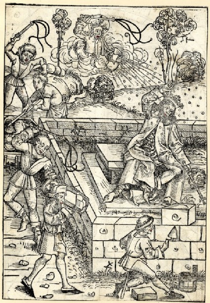 Recto: Pharao chastised for his oppression of the Jews<br />Verso: The Flagellation of Christ
