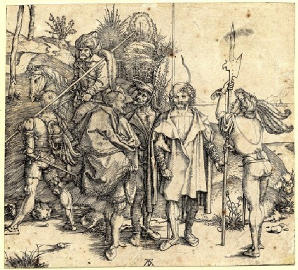 Five soldiers and an oriental on horseback