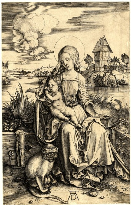 The virgin and child with monkey