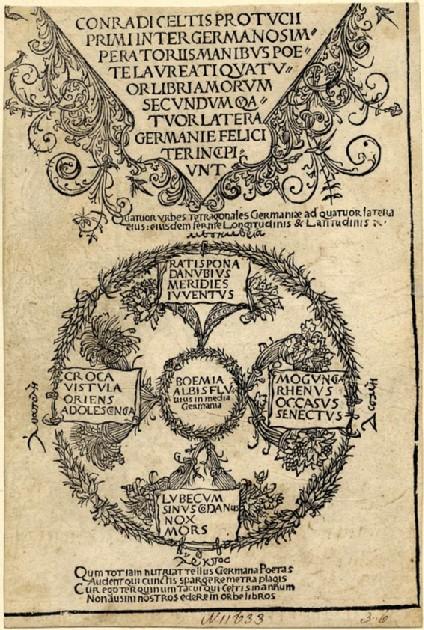 Title-page to Conrad Celtis's 'Quatuor libri amorum secundum quatuor latera Germanie feliciter incipiunt'