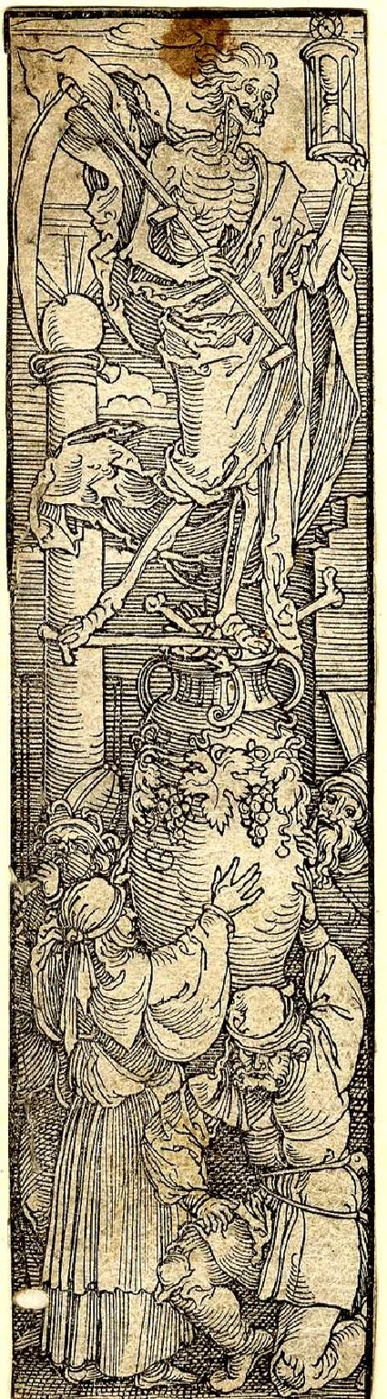 Death with a scythe and hour-glass standing on a vase with bones