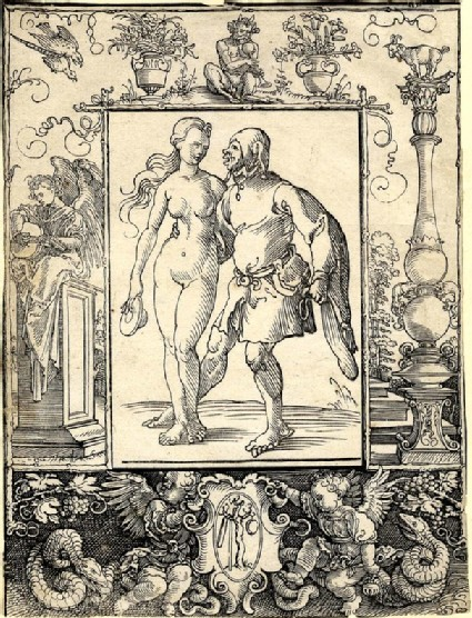 Nude woman and a fool, within ornamental border