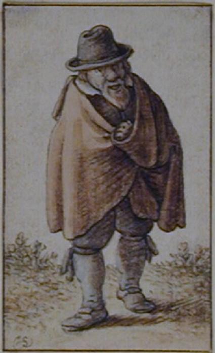 Recto: An old Peasant walking <br />Verso: King of Spades