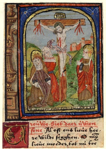 Christ in the Cross commends St John to his Mother