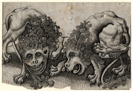 Two grotesque lions