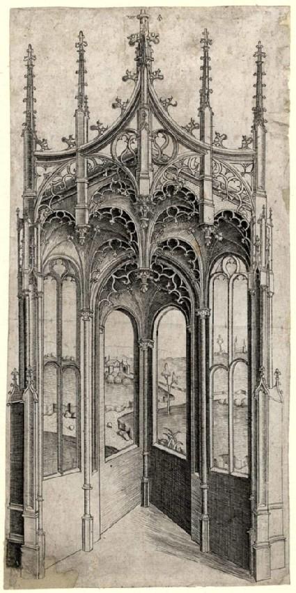 Vista through the Interior of a Gothic Chapel